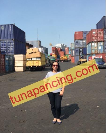 Ibu Yeni di depo container mengantarkan kiriman tuna
